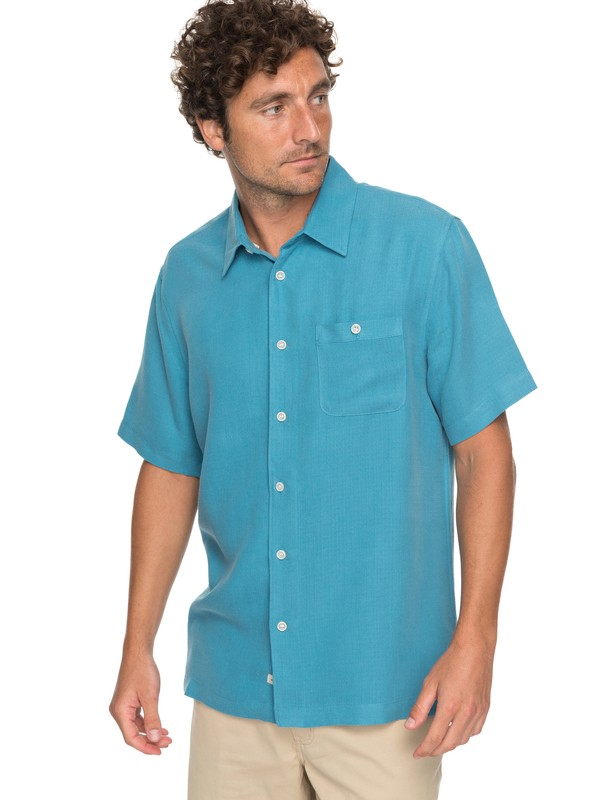 0 Waterman Avalon Short Sleeve Shirt Blue EQMWT03051 Quiksilver