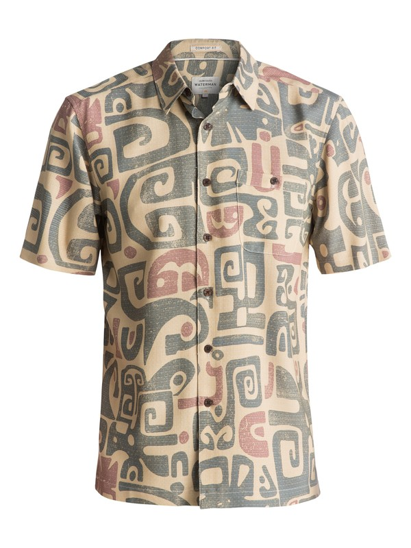 0 Waterman Olowalu Short Sleeve Shirt Brown EQMWT03056 Quiksilver