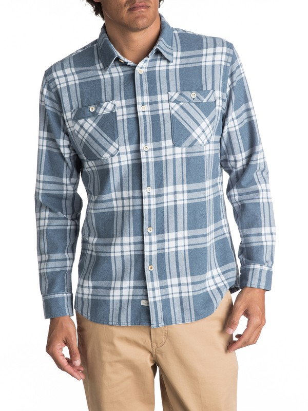 0 Waterman Moon Tides Flannel Long Sleeve Shirt Blue EQMWT03075 Quiksilver