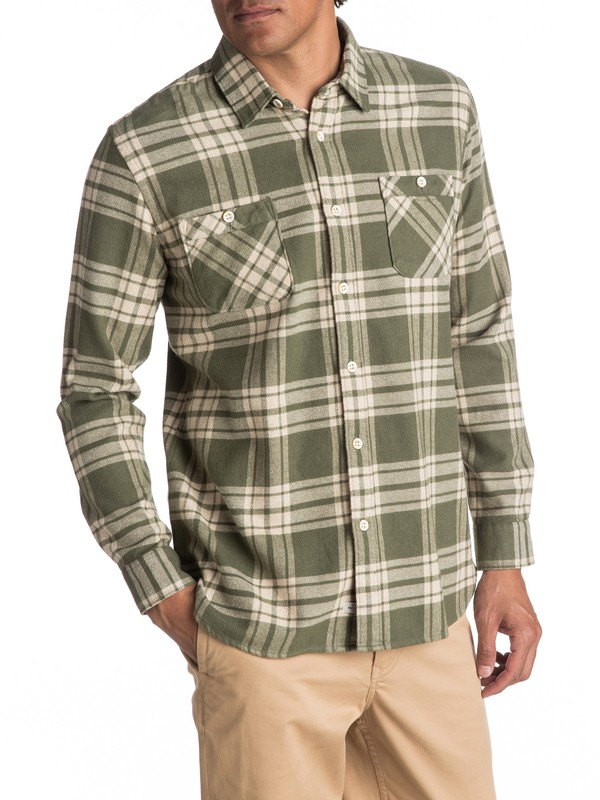 0 Waterman Moon Tides Flannel Long Sleeve Shirt Green EQMWT03075 Quiksilver