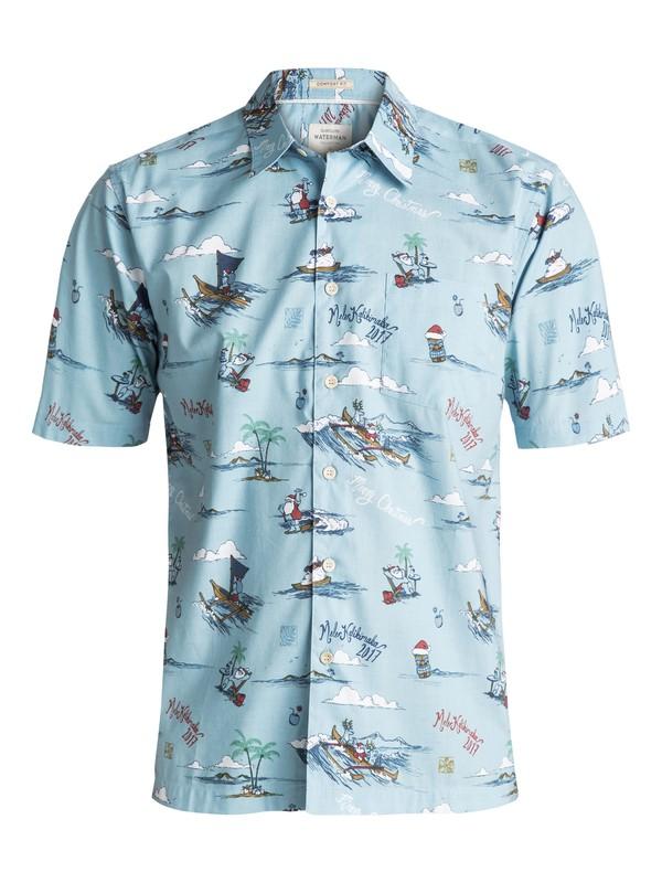 0 Waterman Christmas In Makano Short Sleeve Shirt Blue EQMWT03084 Quiksilver
