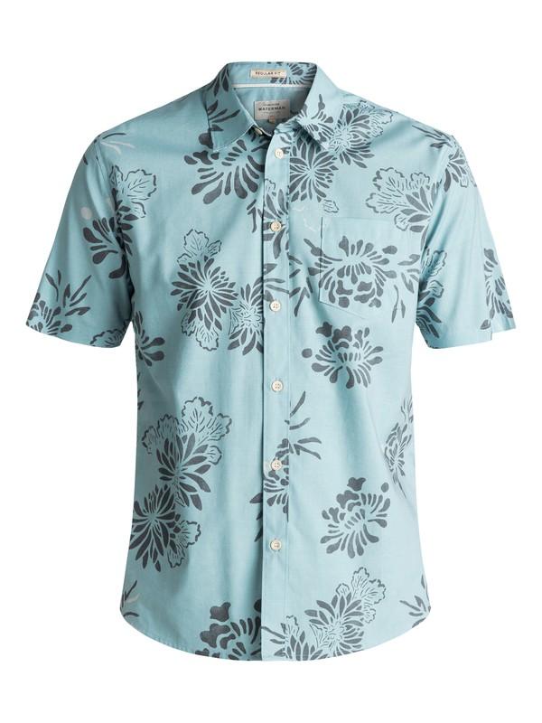 0 Men's Waterman Hoena Short Sleeve Shirt Blue EQMWT03086 Quiksilver
