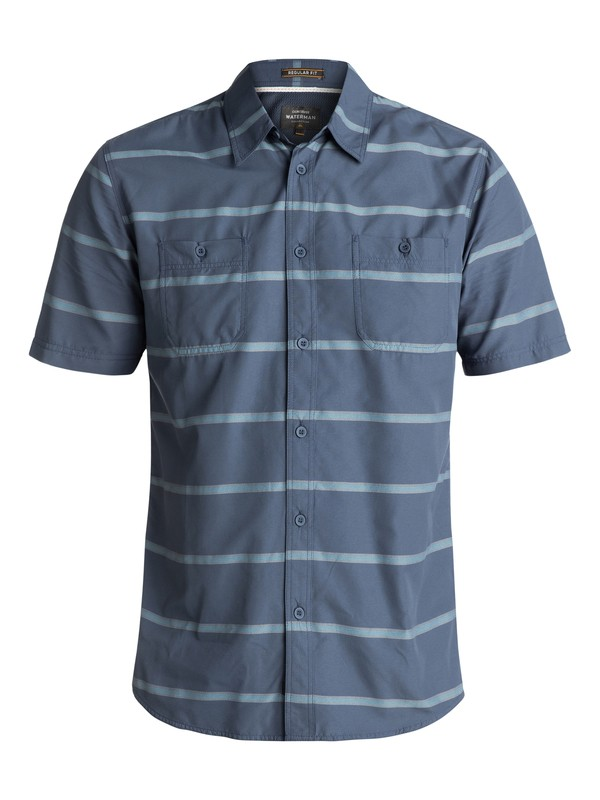 0 Waterman Wake Stripe Technical Short Sleeve Shirt Blue EQMWT03090 Quiksilver