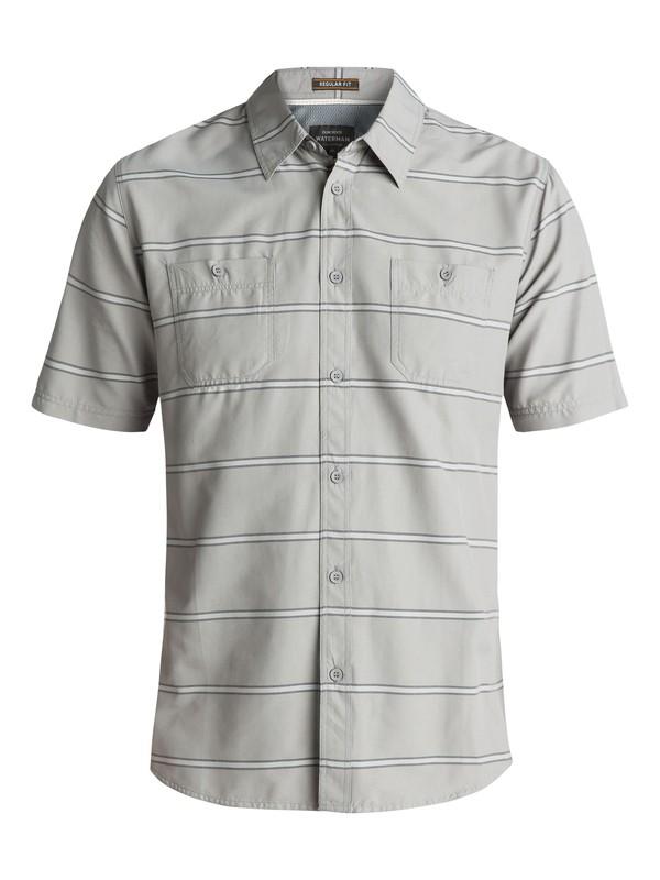 0 Men's Waterman Wake Stripe Technical Short Sleeve Shirt Grey EQMWT03090 Quiksilver