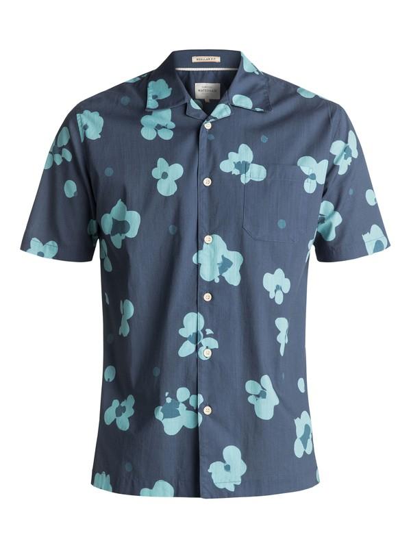 0 Men's Waterman Waterfloral Short Sleeve Camp Shirt Blue EQMWT03093 Quiksilver