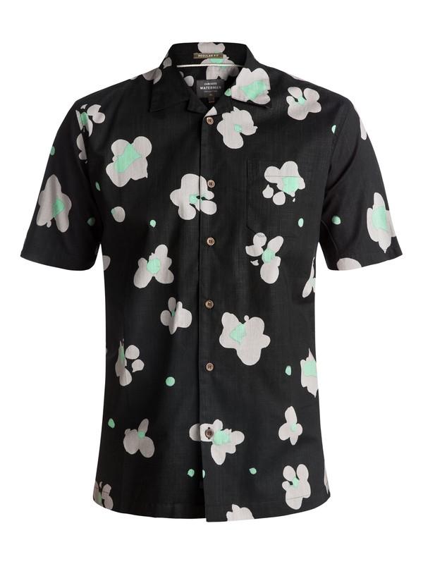 0 Men's Waterman Waterfloral Short Sleeve Camp Shirt Black EQMWT03093 Quiksilver