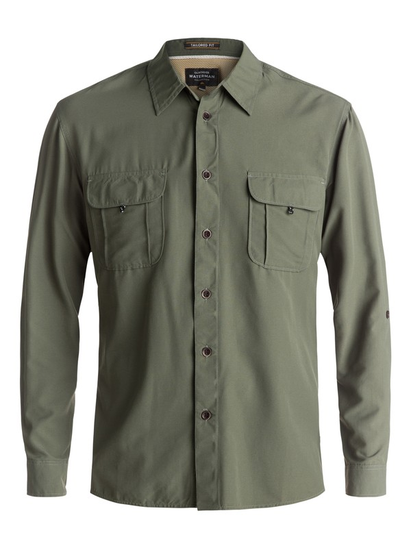 0 Waterman Trailblazing - Long Sleeve Shirt Green EQMWT03107 Quiksilver