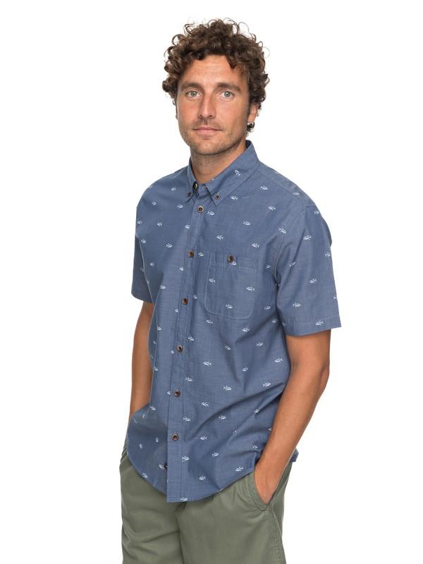 0 Waterman Poste Fishery Short Sleeve Shirt Blue EQMWT03117 Quiksilver