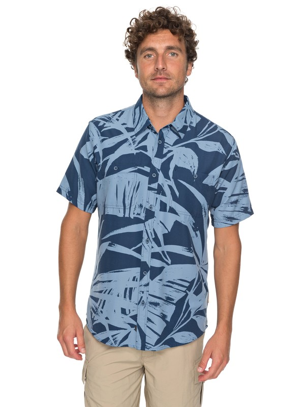 0 Waterman Wake Palm Frond Technical Short Sleeve Shirt Blue EQMWT03124 Quiksilver