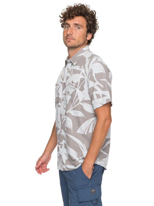 0 Waterman Wake Palm Frond Technical Short Sleeve Shirt Grey EQMWT03124 Quiksilver