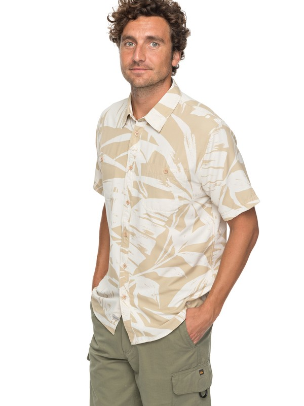 0 Waterman Wake Palm Frond Technical Short Sleeve Shirt Beige EQMWT03124 Quiksilver