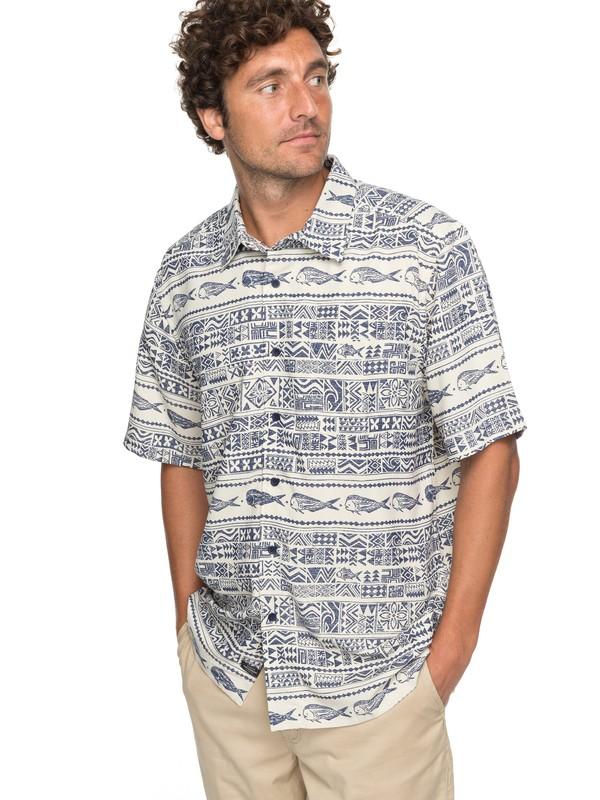 0 Waterman Pina Fish Short Sleeve Shirt Blue EQMWT03131 Quiksilver