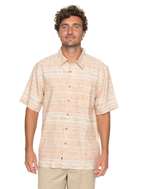 0 Waterman Pina Fish Short Sleeve Shirt Orange EQMWT03131 Quiksilver