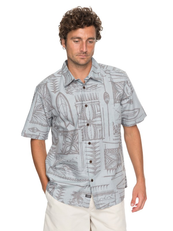 0 Waterman Surfyard Stack Short Sleeve Shirt Grey EQMWT03136 Quiksilver