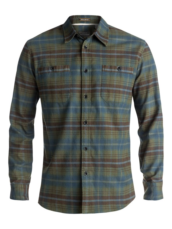 0 Waterman Raleigh Long Sleeve Shirt Green EQMWT03146 Quiksilver