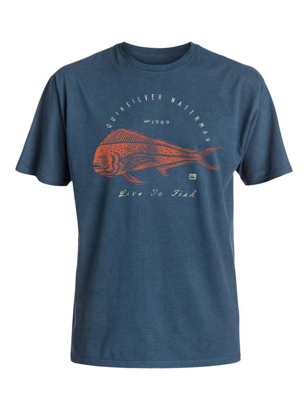 0 Live To Fish - Tee-Shirt Bleu EQMZT03017 Quiksilver