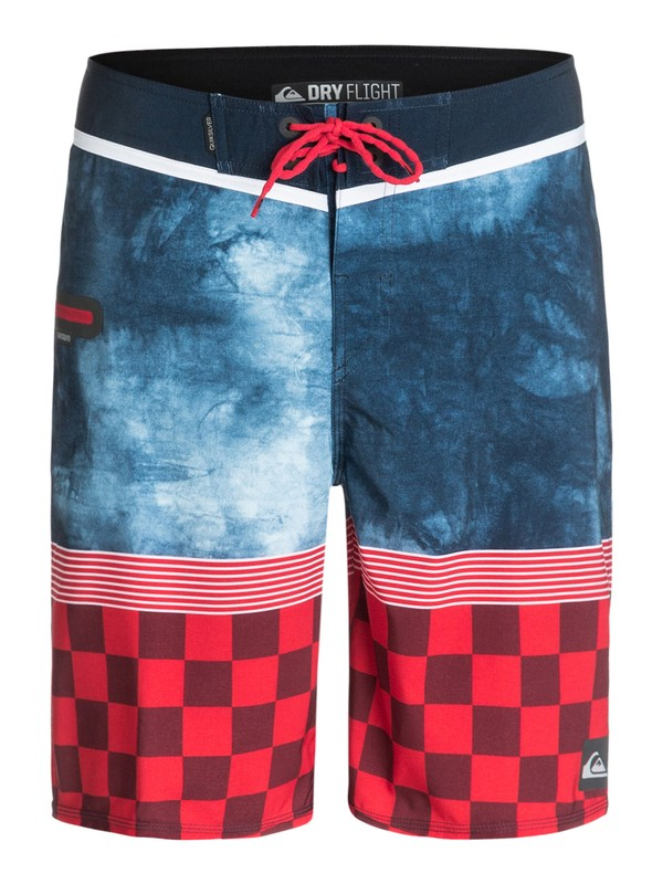 """0 AG47 Check Trip 21"""" Repreve Boardshorts Blue EQYBS03139 Quiksilver"""