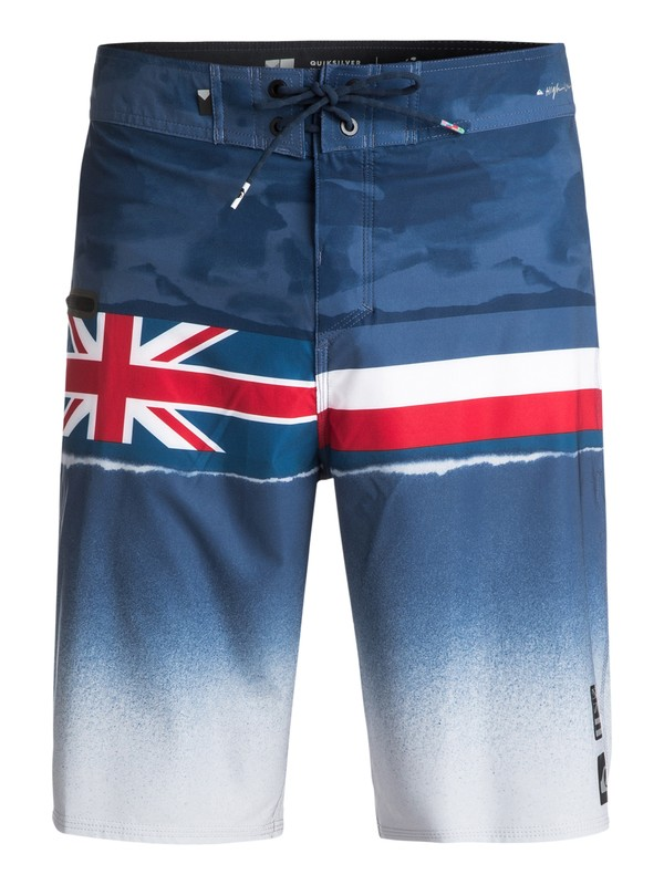 "0 Men's Blocked Resin Hawaii 21"" Boardshorts Blue EQYBS03815 Quiksilver"