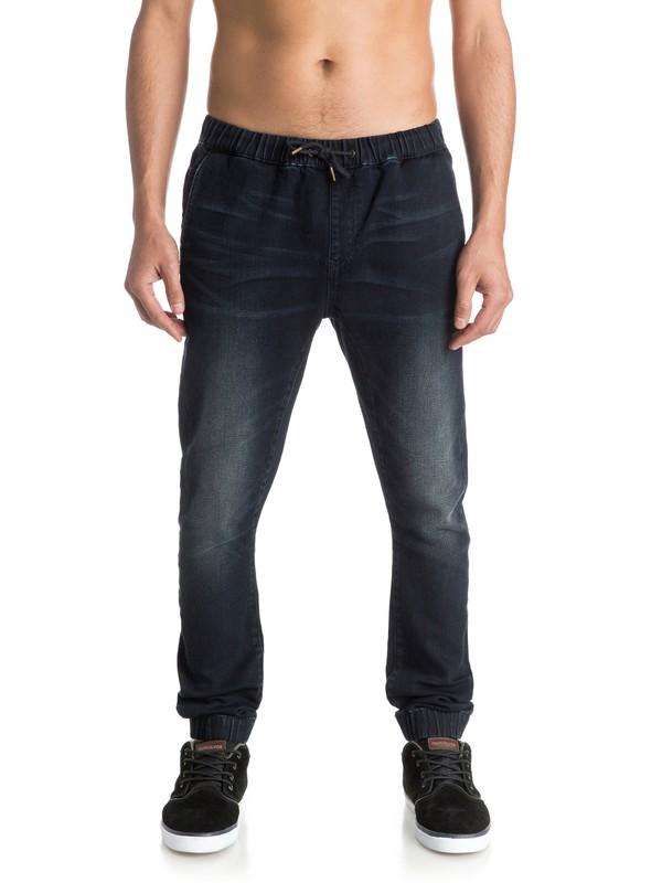 0 Fonic Dark Blue - Pantalon Molleton Effet Denim Coupe Slim  EQYDP03229 Quiksilver