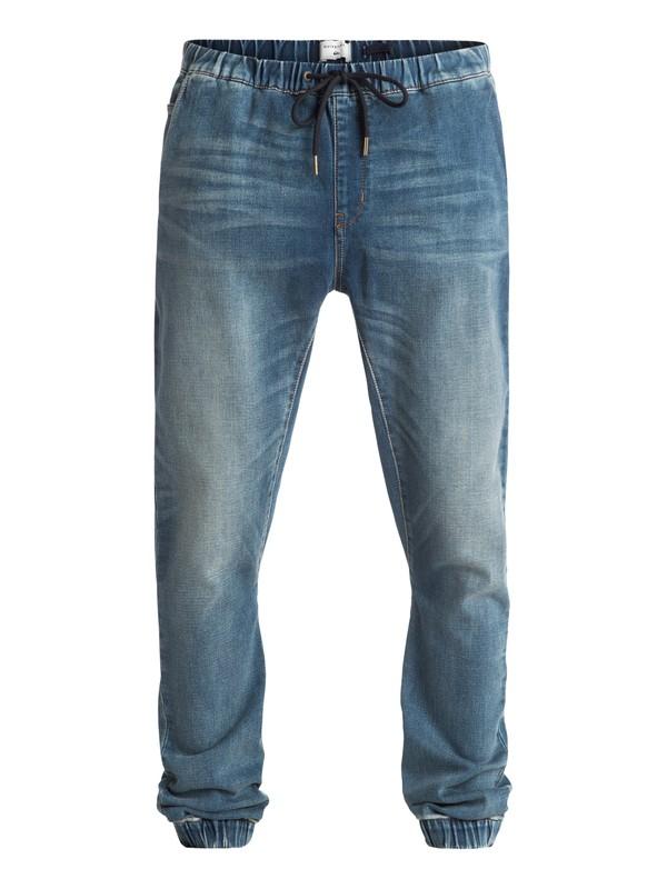 0 Fonic Stormy Blue - Pantalon Molleton Effet Denim Coupe Slim Bleu EQYDP03230 Quiksilver