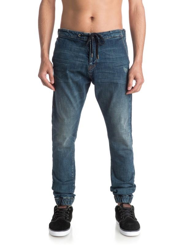 "0 Bradfonic Used Blue Destroy 32"" - Pantalon Molleton Effet Denim Bleu EQYDP03234 Quiksilver"