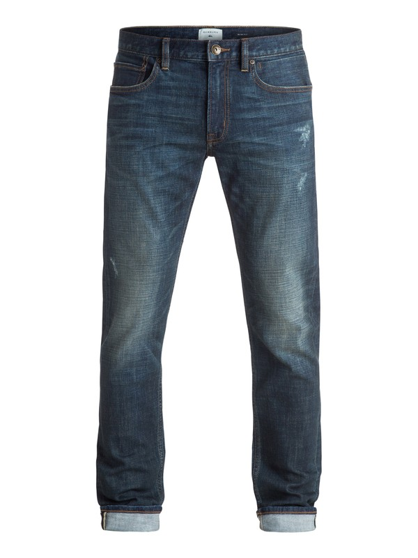 "0 Distorsion Agy Blue 32"" - Jean coupe slim Bleu EQYDP03244 Quiksilver"