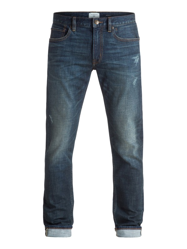 "0 Distorsion Agy Blue 34"" - Jean coupe slim Bleu EQYDP03250 Quiksilver"