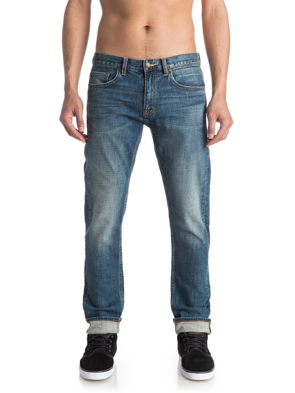 "0 Distorsion Medium Blue 30"" Slim Fit Jeans  EQYDP03289 Quiksilver"