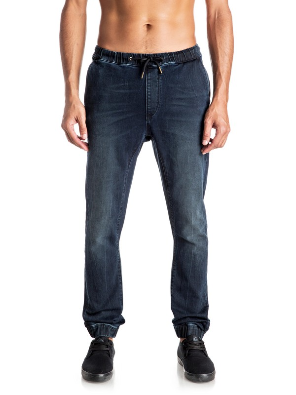 0 Fonic Blue Black - Pantalon de jogging en denim coupe slim  EQYDP03296 Quiksilver
