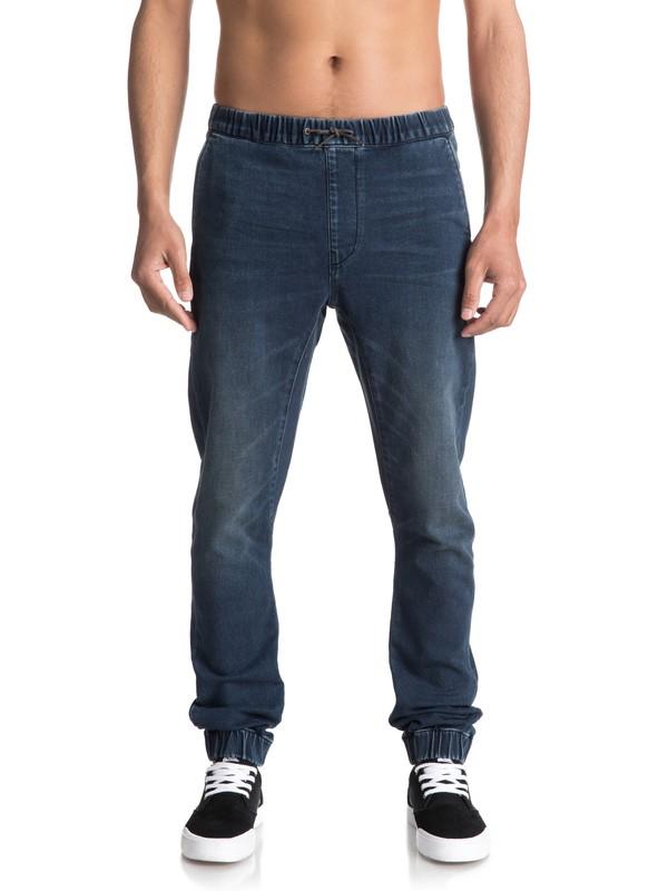 0 Fonic Neo Elder - Pantalon de jogging en denim coupe slim Bleu EQYDP03337 Quiksilver