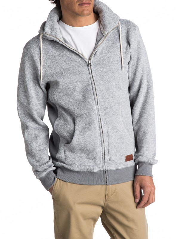 0 Keller Zip-Up Polar Fleece Hoodie Grey EQYFT03661 Quiksilver