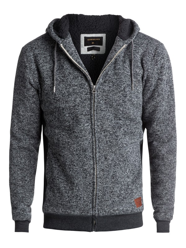 0 Keller Sherpa Zip-Up Polar Fleece Hoodie Black EQYFT03662 Quiksilver