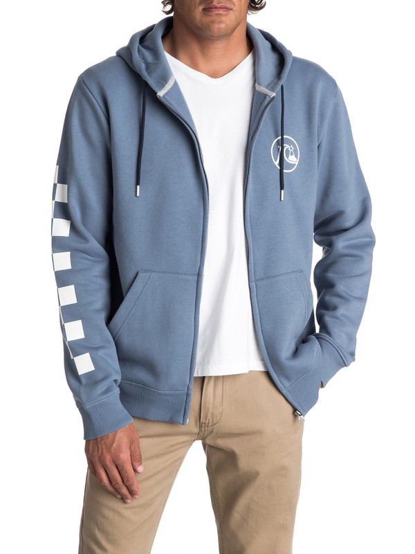 0 Men's Quik Check Zipped Hoodie Blue EQYFT03715 Quiksilver