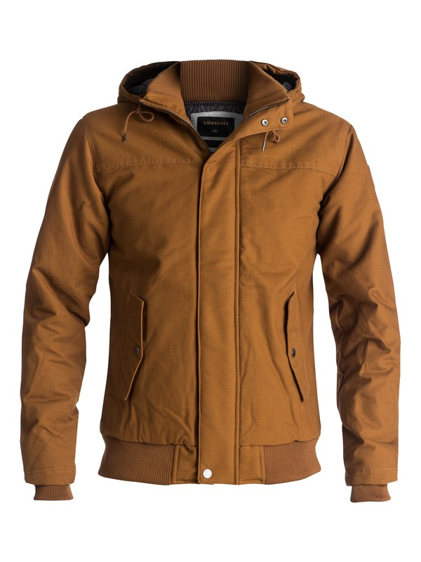 0 Everyday Brooks Water-Repellent Hooded Bomber Jacket Brown EQYJK03365 Quiksilver