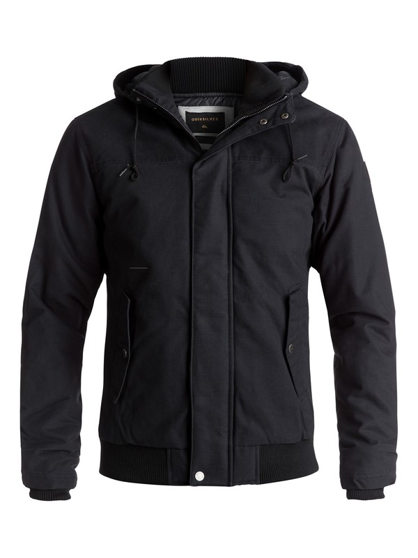 0 Everyday Brooks Water-Repellent Hooded Bomber Jacket Black EQYJK03365 Quiksilver