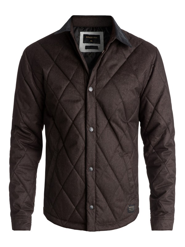 0 Men's Reesor Quilted Overshirt Jacket Brown EQYJK03375 Quiksilver