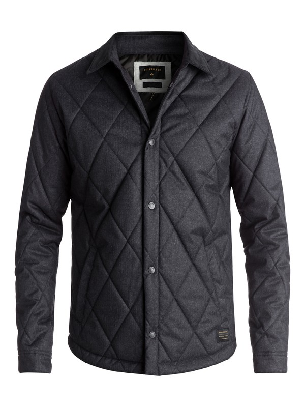 0 Men's Reesor Quilted Overshirt Jacket Black EQYJK03375 Quiksilver