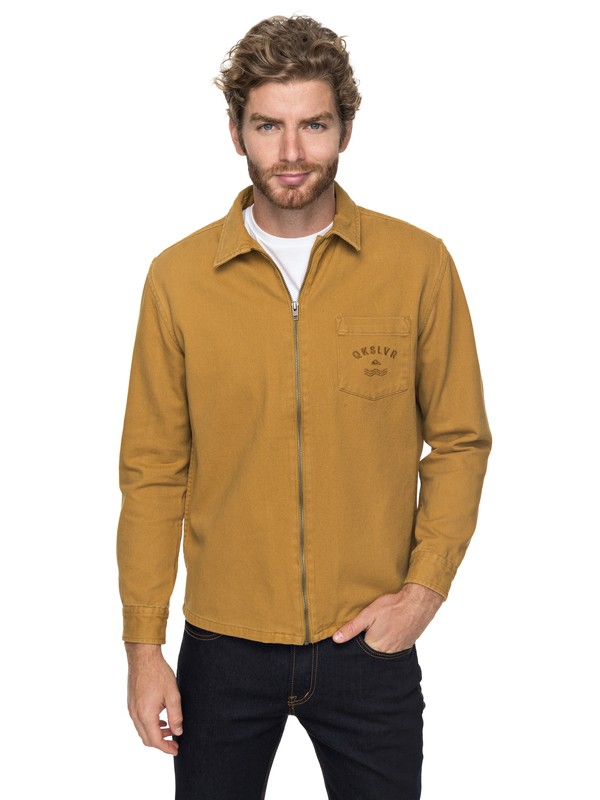 0 Riser Twill - Zip-Up Jacket Brown EQYJK03391 Quiksilver