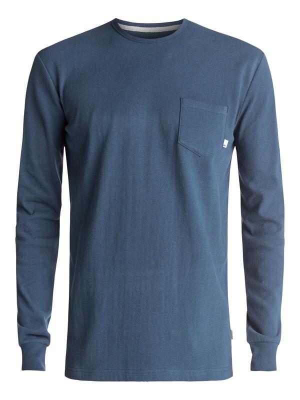 0 Snit Plain Long Sleeve Tee Blue EQYKT03631 Quiksilver