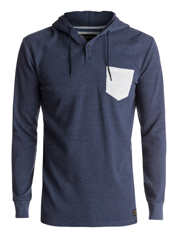 0 Murky Sky Long Sleeve Hooded Tee Blue EQYKT03633 Quiksilver