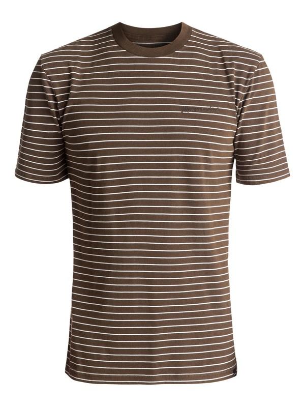 0 Men's Lazy Laguna Stripe Tee Brown EQYKT03646 Quiksilver