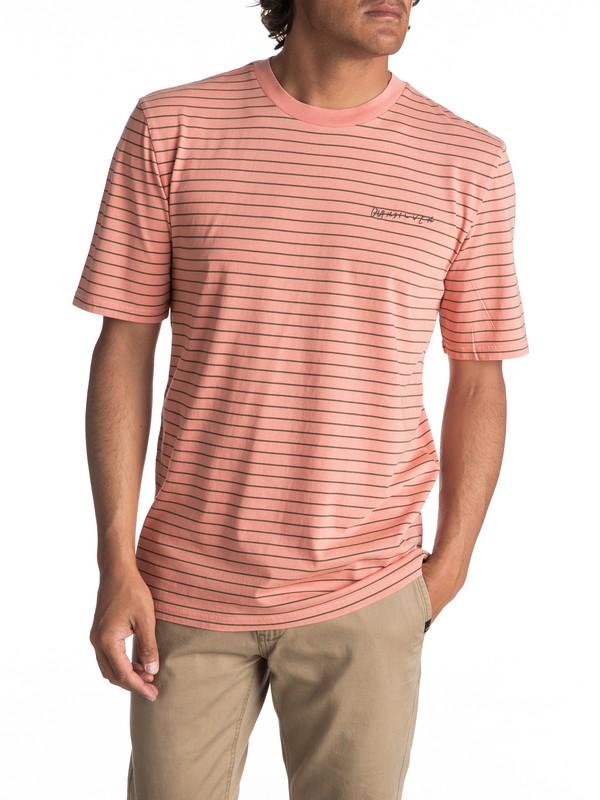 0 Men's Lazy Laguna Stripe Tee Pink EQYKT03646 Quiksilver