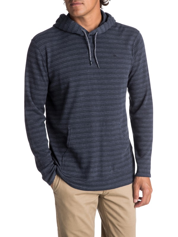 0 Men's Ocean Surface Long Sleeve Hooded Top Blue EQYKT03648 Quiksilver