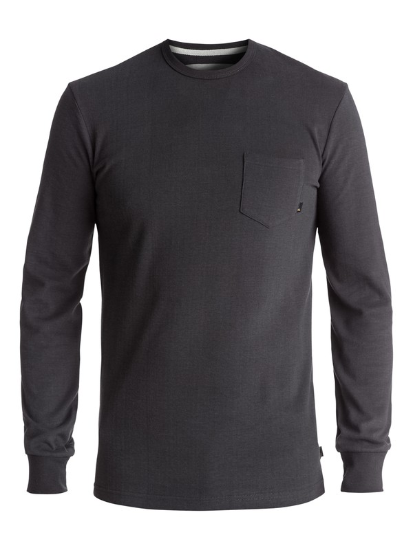 0 Men's Axin Long Sleeve Pocket Tee Black EQYKT03656 Quiksilver