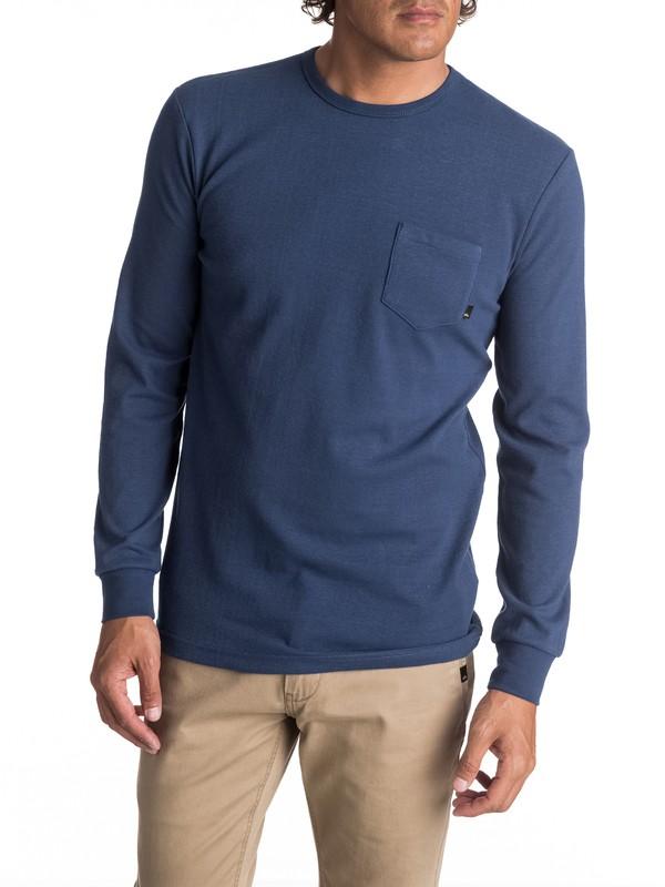 0 Men's Axin Long Sleeve Pocket Tee Blue EQYKT03656 Quiksilver