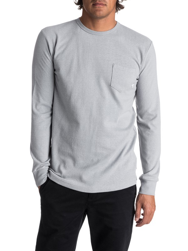 0 Men's Axin Long Sleeve Pocket Tee Grey EQYKT03656 Quiksilver