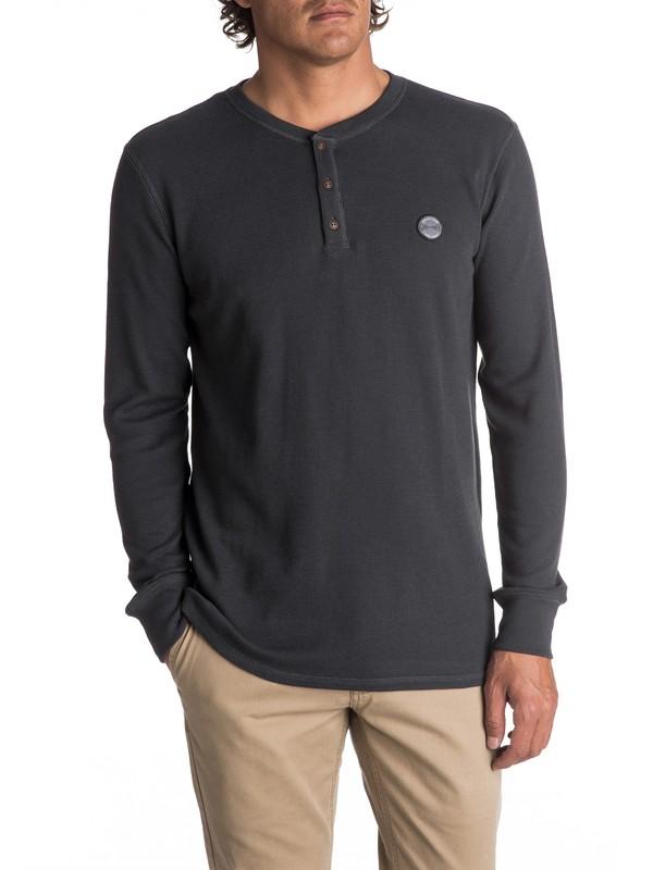 0 Men's Ocean Surface Thermal Long Sleeve Henley Top Black EQYKT03657 Quiksilver