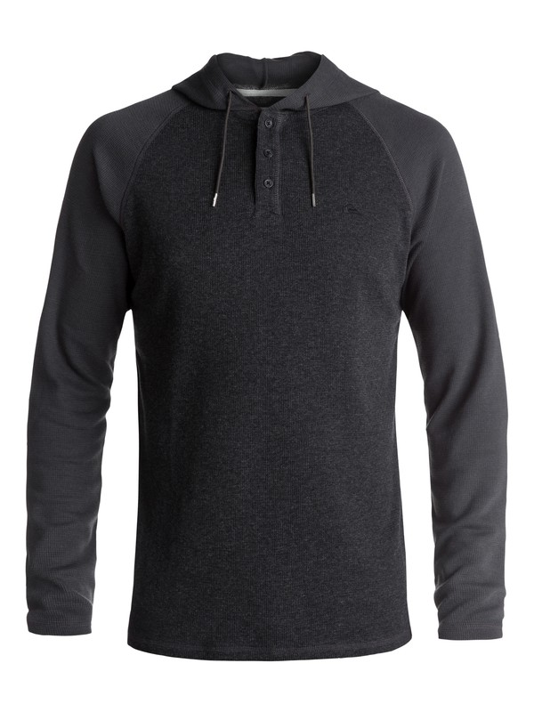 0 Men's Wedgeport Long Sleeve Henley Hoodie Black EQYKT03674 Quiksilver