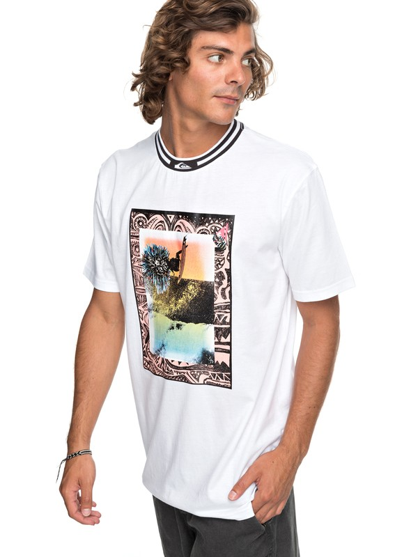 0 Barrel Day - T Shirt col rond Blanc EQYKT03693 Quiksilver