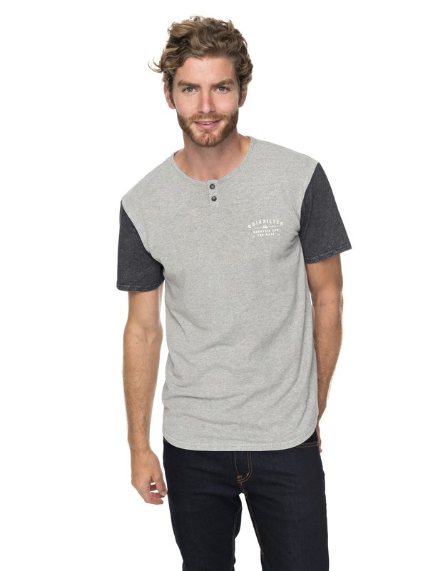 0 Optic Henley Tee Grey EQYKT03699 Quiksilver